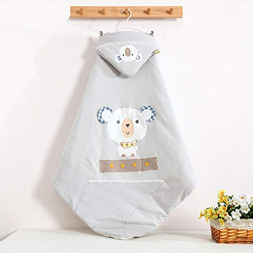Neutral Swaddle Blanket Baby Sleeping Bag 0-18 Months Baby Quilt Thicken In Autumn And Winter Pure Cotton Newborn 襁褓 Little Bear Keep Warm@Blue_100*100 Child Comfort Quilt