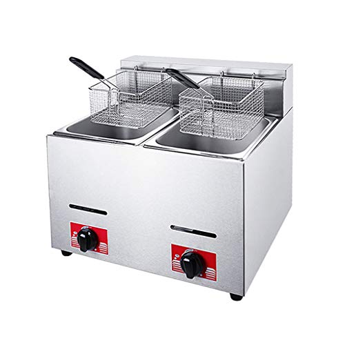 12L Countertop Deep Fat Fryer Gas Fryer Double Chip Fryer with Basket Lid Stainless Steel Removable Tank French Fry Home Kitchen Commercial