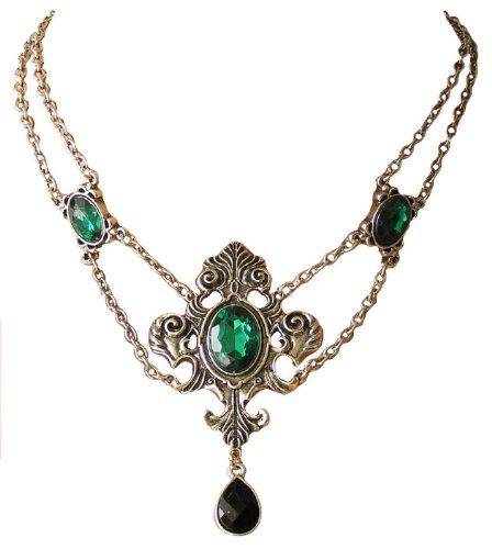 Trachtenschmuck Dirndl Gothic Collier in ornamentalem Antikstil in Smaragd grün