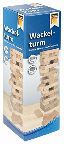 Idena 6060013 - Wackelturm, Geschicklichkeitsspiel mit 54 Bausteinen aus Holz, ca. 8 x 8 x 26 cm