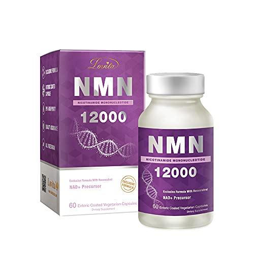 Lovita NMN 12000 (Nicotinamide Mononucleotide) with Resveratrol, 99% Purity, 60 Vegetarian Enteric Coated Capsules