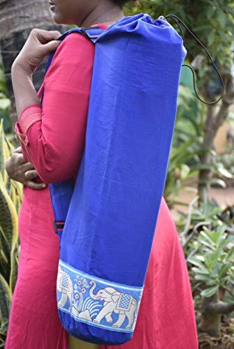 Silver cotton yoga mat bags- DARK BLUE by Yoga Malai