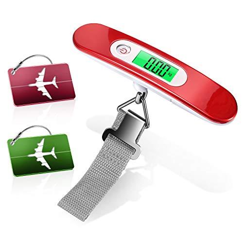 Yosemy 1 Pezzi Bilancia Digitale pesa Bagaglio Valigie (rosso) e 2 Pezzi Viaggio bagagli Tag (rosso+verde), Bilancia per Valigie per Viaggi All'aperto Casa (Batteria Inclusa)