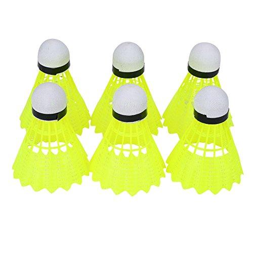6pcs Gelb Nylon Shuttle Badminton Ball Federbälle Badmintonbälle 6er in einer Dose für Outdoor Sport Training schnell stabil