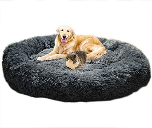 Telismei Deluxe Fluffy Extra Large Dog Beds Sofa, Washable Round Dog Pillow Cushion Pet Bed for Large Extra Large Dog (3XL-120CM, Dark gray)