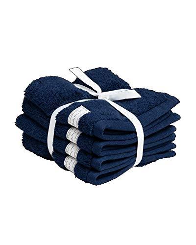 GANT Juego de 4 toallas de invitados orgánicas, color azul, tamaño 30 x 30 cm
