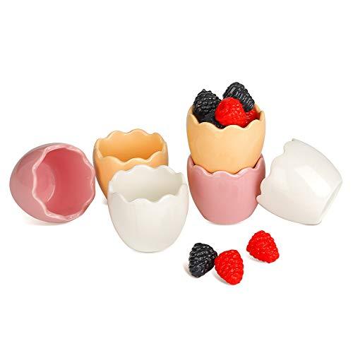 Cuencos para Salsas Pequeños Cuencos Aperitivos Originales Juego de 6 Forma de Huevo Cuencos Cocina Ceramica de Colores, 62ml