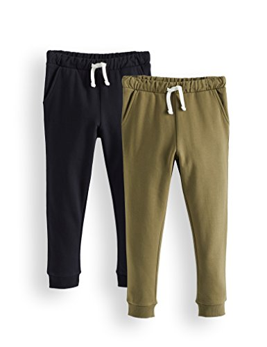 Amazon-Marke: RED WAGON Jungen Hose Jogger 2er pack, Mehrfarbig (Khaki/Black), 128, Label:8 Years
