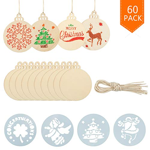 Biubee 40 Pcs Christmas Round Blank Wooden Discs with Holes-Unfinished Predrilled Natural Wood Slices and 20 Pcs Round Christmas Stencils Template for Christmas Ornaments Hanging Decoration DIY Crafts