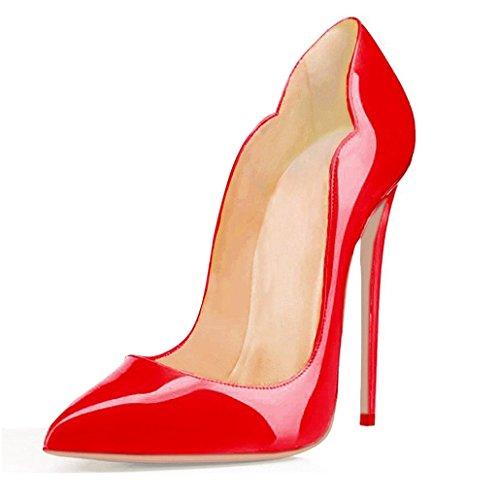 EDEFS - Scarpe con Tacco Donna - 120mm - Decollete Donna Patent Red - Rosso - Taglia EU35