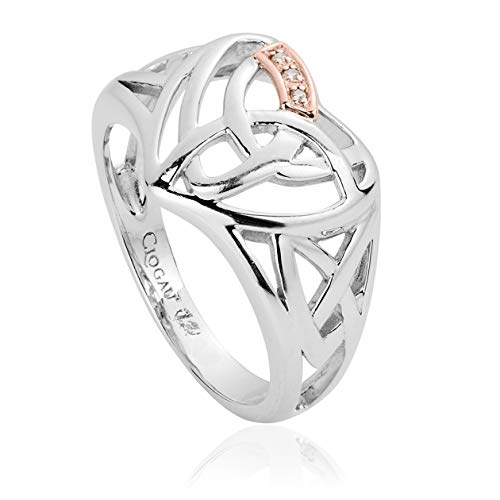 Clogau Womens Silver and 9ct Rose Welsh Gold Three Diamond Eternal Love Heart Ring (N)