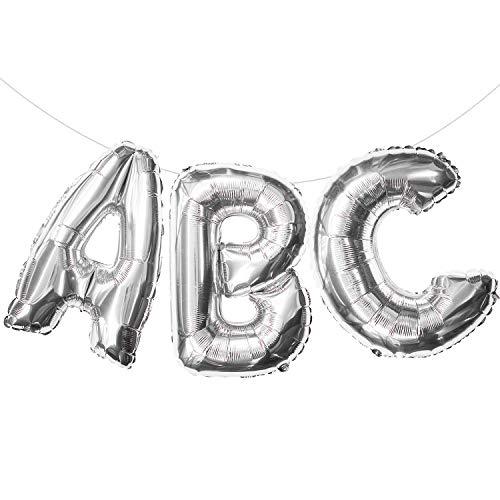 Oblique Unique® ABC Buchstaben Folien Luftballon Girlande Banner Hänge Deko für Einschulung Schuleinführung Schulanfang Schulstart Dekoration Schule Ballons Silber