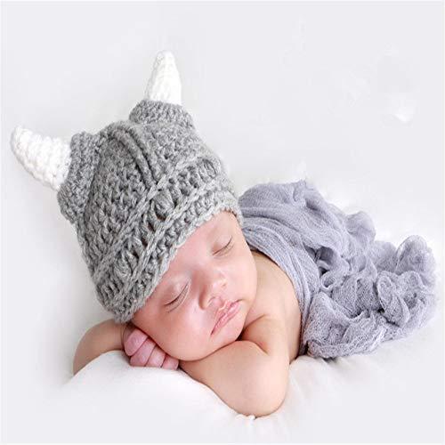 Sombrero de Lana para bebé Sombrero Lindo para bebé Sombrero Hecho a Mano para niños Sombrero de Punto Salvaje Gorro de Cuerno pequeño código de Cuernos Grandes para niños