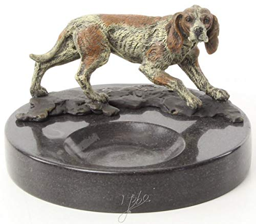 Casa Padrino Marmor Aschenbecher mit dekorativer Bronzefigur Hund Mehrfarbig/Schwarz Ø 8,2 x H. 13 cm Qualität