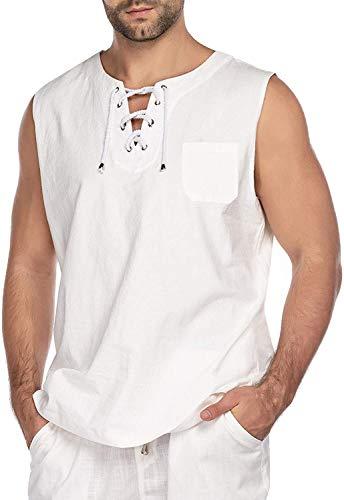 COOFANDY Camisa de Lino para Hombre sin Mangas Camiseta sin Mangas Medieval con Cordones Camiseta de algodón de Ajuste Regular Verano
