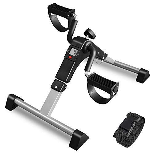 ORFORD Portable Mini Pedal Exercise Bike with LCD Display, Folding Peddler under Desk for Arm, Foot, Black