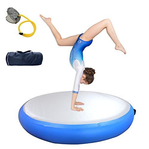Airspot Air Track - Esterilla de gimnasia hinchable, 20 cm de altura, con bolsa de transporte y bomba, color azul