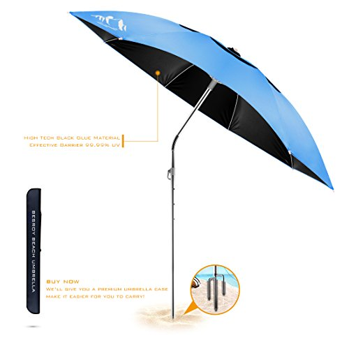 BESROY Portable Beach Umbrella Outdoor Sunshade with Heavy Duty Metal Pole, Windproof Stakes & Carry Bag - UV Protection, 360° Rotating, for Beach, Patio, Pool, Terrace, Park (Sky Blue Standard)