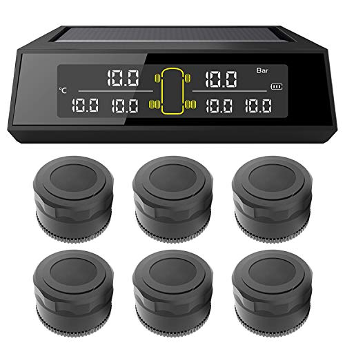 KKmoon TPMS Reifendruckkontrollsystem Wireless Solar Reifendruckmesser mit 6 Externe Sensoren LCD Display Alarmfunktion Temperatur Anzeige für 4-6 Reifen Auto RV Truck Tow Trailers (0-130PSI)