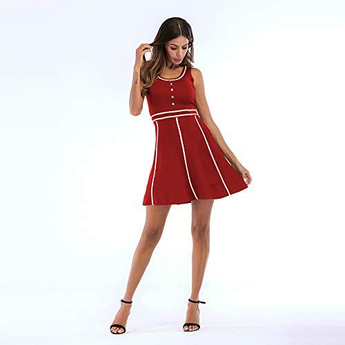 xihongshi zomerjurk voor vrouwen Europese en Amerikaanse jurk, ronde hals, ronde knoopsluiting, grote swing rok