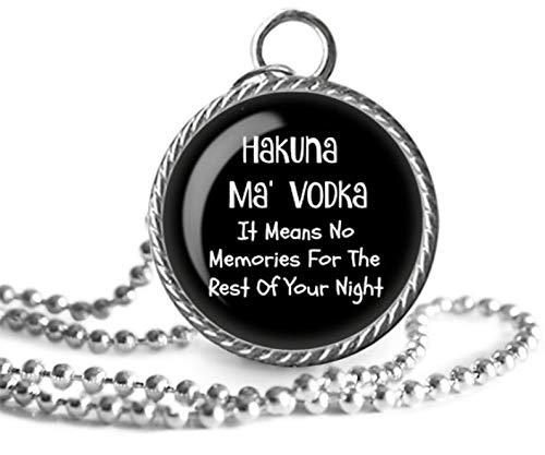 heng yuan tian cheng drinken ketting, drankjes, Hakuna, wodka, grappige citaat afbeelding hanger ketting handgemaakt