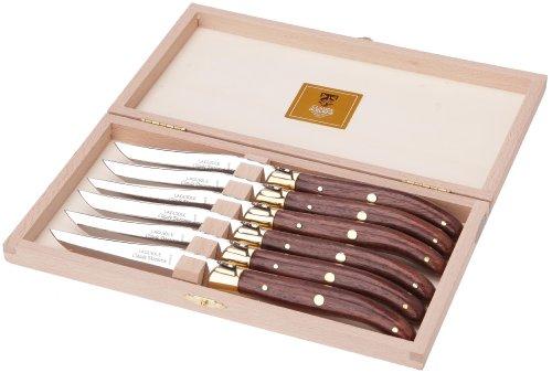Claude Dozorme 2.60.001.51 Steakmesser in Box aus Buchenholz, 6 Stück, Laguiole