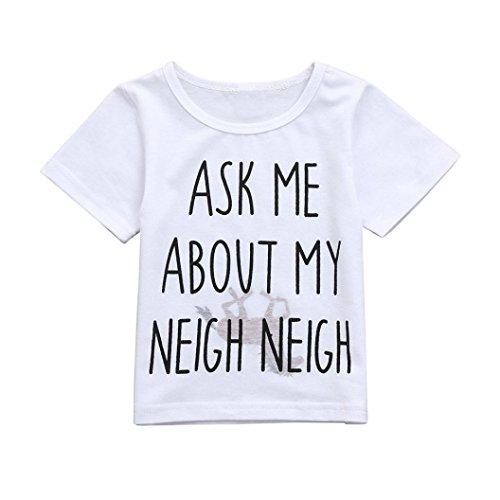 Hauts de Bébé,❤️ LMMVP ❤️ des Gamins Enfants Bébés Filles Garçons Lettre à l'intérieur de Cheval Hauts Souples Vêtements Mignons de T-Shirt (Blanc, 90(12-18M))