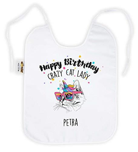 die stadtmeister Latz f. Erwachsene Happy Birthday Crazy Cat Lady mit Wunschname