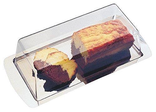 Tablett aus Edelstahl 18/0 mit Haube aus Polystyrol, stapelbar und spülmaschinenfest, Ersatzhaube optional | SUN (A1 - Tablett mit Haube 34 x 16,5 x 10 cm)