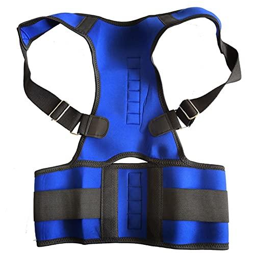 FGHD Corrector Postura Back-Support Vendaje Hombro Corsé Atrás Soporte Postura Corrección Cinturón 709 (Color : Blue, Size : S)