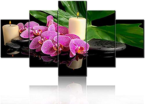 HUA JIE Red Flowers Picture Spa Zen Orchid Canvas Wall Art Black Stone Candles Paintings Modern Peaceful Home Decor Bedroom Salon Massage Wall Decor