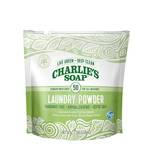 Charlie's Soap – Fragrance Free Laundry Powder Detergent – 50 Loads (1.3 lbs, 1 Pack)
