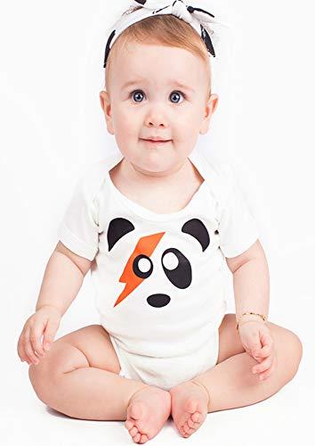 Body Ziggy Stardust panda pour garçons ou filles | Body neutre David Bowie pour bébé – Idéal pour offrir à Noël à une baby shower ou à un 1e anniversaire | Baby Moo UK blanc blanc 3-6 mois