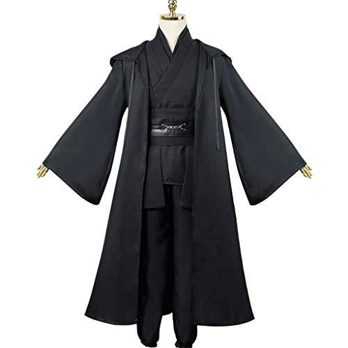 Coses de Halloween para hombre, creativo, conjunto completo de túnica con capucha, disfraz de jedi Outfit para Halloween, cosplay y Samurai, para hombres y mujeres (color negro, talla: XXL)