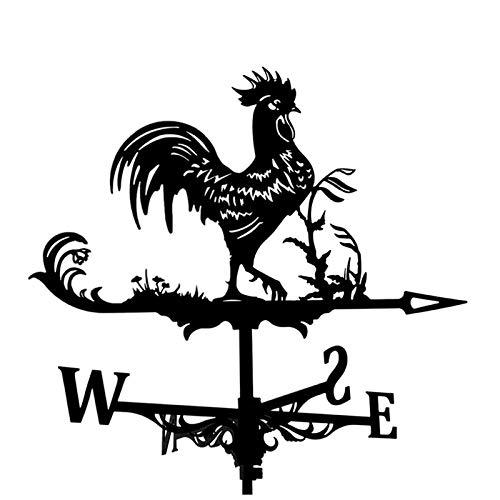 TOPAUP Wetterfahne Wetterhahn Windrichtungsanzeiger,Retro Schwanz Hahn Form Hohl geschnitztes Design Edelstahl Windrichtung Schwarz Metall für Garten Hinterhof Dach