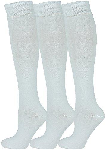 Mysocks 3 Pairs Calcetines altos unisex hasta la rodilla con algodón peinado extrafino Blanco