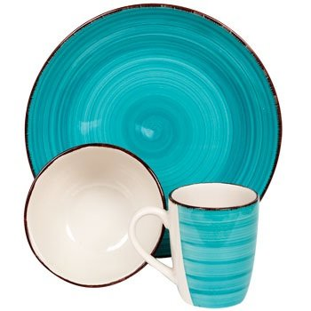 My Sanctuary 12-Piece Dinnerware Set, Turquoise - Service for 4, Dishes, Bowls and Coffee Mugs