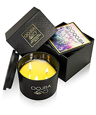 Oojra Scented Candles - Made with Essential Oils & Soy Wax - 3-Wick Candle 13 oz (370g) 75+ hours Includes Lid and Gift Box