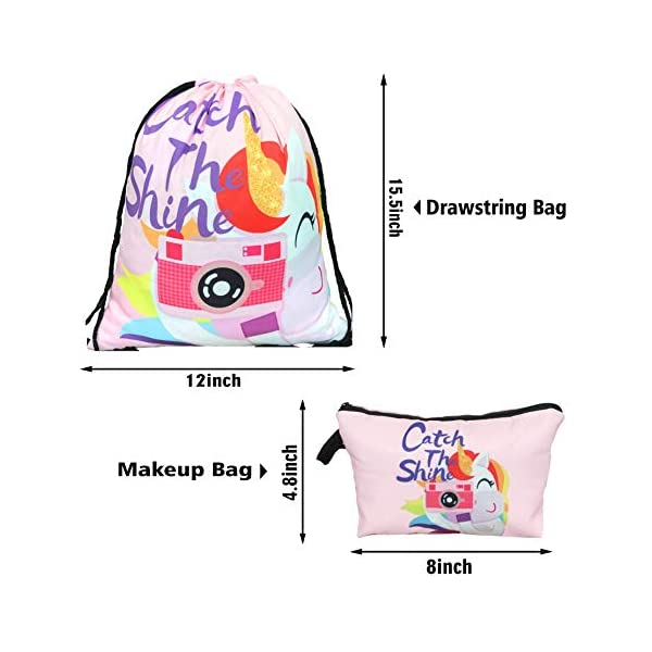 Unicorn Gifts for Girls - Unicorn Drawstring Backpack/Makeup Bag/Bracelet/Inspirational Necklace/Hair Ties 4