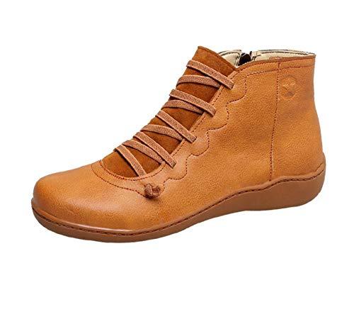 ZYLL Damen PU-Leder Knöchelstiefel Frauen Herbst Winter Kreuz Riemchen Vintage Frauen Reißverschluss Stiefel Flache Damen Schuhe Frau,Orange,35
