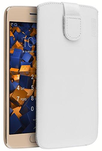 mumbi Echt Ledertasche kompatibel mit Lenovo Moto G5 Plus Hülle Leder Tasche Case Wallet, weiss