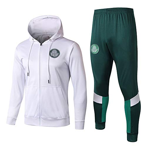 ZH~K Traje de entrenamiento de fútbol para hombre, sudadera con capucha, ropa deportiva, uniforme de fútbol (tops + pantalones) - ZS5186 sudaderas para hombre (color: blanco y verde, talla: S)
