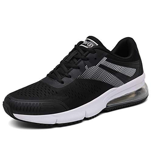 SOLLOMENSI Sportschuhe Laufschuhe Damen Herren Retwin Turnschuhe Straßenlaufschuhe mit Snake Optik Sneaker 43 EU C Schwarz Weiß