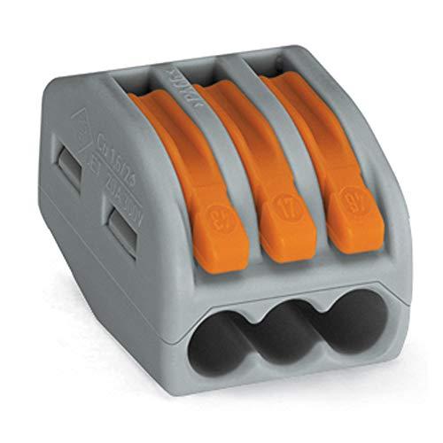 50 Stück Wago Verbindungsklemme 3 Leiter mit Betaetigungshebel 0,8-2,5 qmm (50 Stueck)