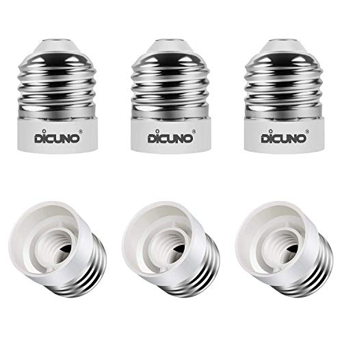 DiCUNO E26 to E12 Socket Adapter, Standard Medium to Candelabra Base LED Bulb Converter, 0~120V Max 200W and 165℃ Heat-Resistant E26 Medium Adapter, 6-Pack