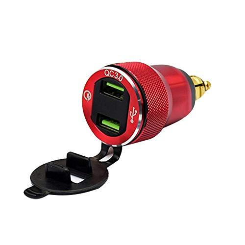 mooderff Quick Charge 3.0 USB-autolader, auto-inbouwbus, 12 V/24 V, waterdicht, sigarettenaansteker, adapter met led-voltmeter, accuspanningsweergave voor motorfiets, boot, vrachtwagen, ATV