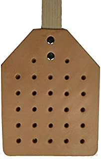 PrimeHomeProducts Leather Fly Swatter - All Natural Eco Friendly Vegetable Dyed Tan Leather with Heavy Duty Ash Wooden Handle and Hemp Hanging Cord. Hand Made in America