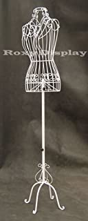Female Metal Wire Dress Form (White) - Adjustable Height Wire Frame Dress Form Display Stand - Antique Metal Base (XY2302W-TY)