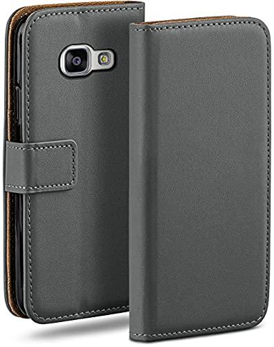 moex Klapphülle kompatibel mit Samsung Galaxy A3 (2016) Hülle klappbar, Handyhülle mit Kartenfach, 360 Grad Flip Hülle, Vegan Leder Handytasche, Dunkelgrau