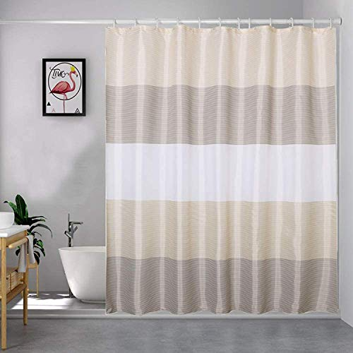 """Beige Shower Curtains for Bathroom, Shower Curtain Gold Tan Taupe Brown Grey White Neutral Striped Waterproof Fabric with 12 Plastic Hooks, 72""""x72"""""""